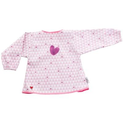Bavoir plastifié à manches longues coeur rose  par BabyToLove