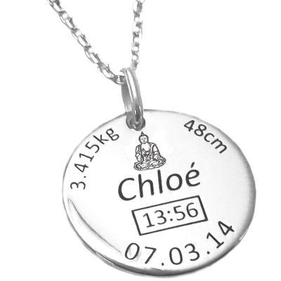 Médaille de naissance Boudha avec chaîne personnalisable (argent 925° rhodié)  par Alomi