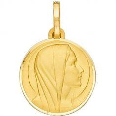 Médaille ronde Vierge auréolée 16 mm (or jaune 375°)