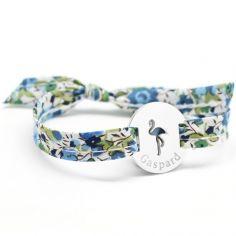Bracelet Liberty ruban flamant rose personnalisable (argent 925°)