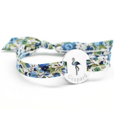 Bracelet Liberty ruban flamant rose personnalisable (argent 925°)  par Petits trésors