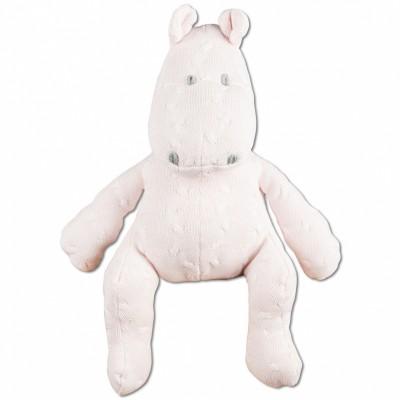 Peluche hippopotame Cable Uni rose classique (35 cm) Baby's Only