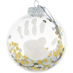 Boule de Noël transparente avec kit empreinte confettis argent et doré