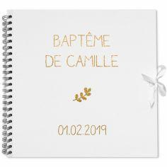 Album photo baptême personnalisable blanc et or (30 x 30 cm)