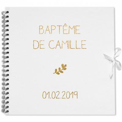 Album photo baptême personnalisable blanc et or (30 x 30 cm) Les Griottes