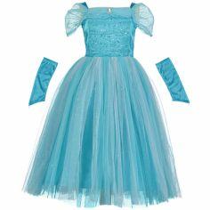 Robe de princesse turquoise scintillante (6-8 ans)