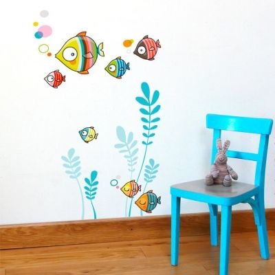 Stickers muraux Poissons La famille bubulle  par Série-Golo