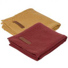 Lot de 2 langes en coton Pure ocre et indian red (70 x 70 cm)