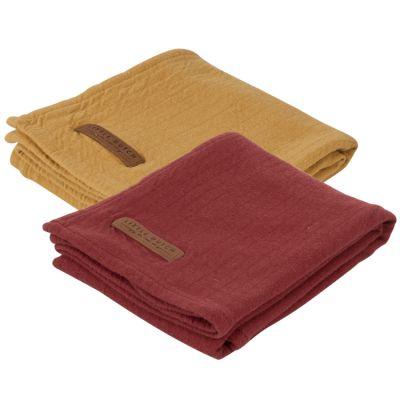 Lot de 2 langes en coton Pure ocre et indian red (70 x 70 cm)  par Little Dutch