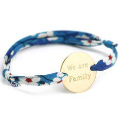 Bracelet cordon liberty Family personnalisable (plaqué or)