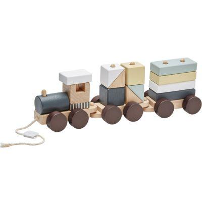 Train blocs de construction avec cubes naturel  par Kid's Concept