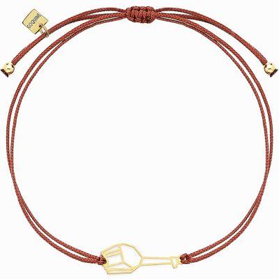 Bracelet sur cordon bordeaux girafe Origami (vermeil doré)  par Coquine