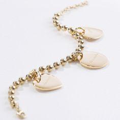 Bracelet chaîne boule 3 charms médaille ronde ou médaille coeur (plaqué or)
