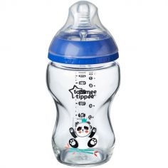 Biberon en verre Closer to nature Panda bleu (250 ml)