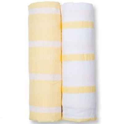 Lot de 2 maxi langes en coton rayures jaunes (120 x 120 cm)  par Lulujo
