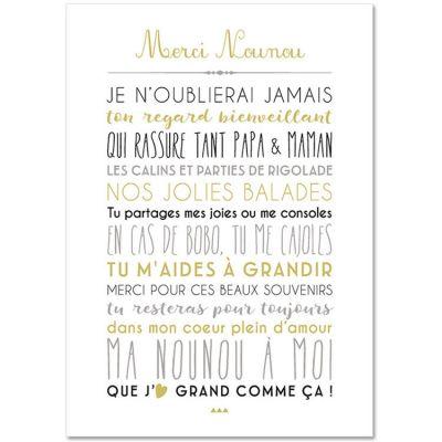 Carte Merci Nounou (15 x 21 cm)  par Mes Mots Déco