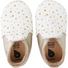 Chaussons bébé en cuir Soft soles Loafer pois dorés (9-15 mois)