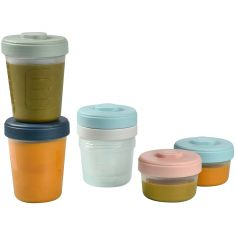 Lot de 6 pots de conservation bleu, rose et vert (90 ml, 150 ml et 250 ml)
