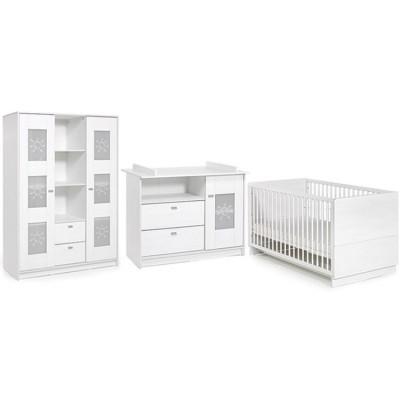 Pack trio lit bébé évolutif, commode à langer et armoire Sol blanc Geuther