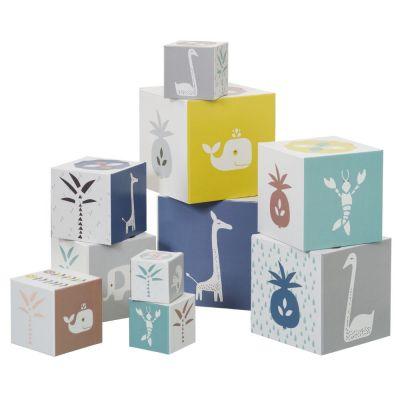 Cubes empilables Animaux bleus (10 cubes) Fresk