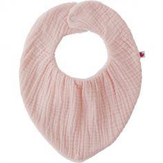 Bavoir bandana bambou réversible rose blush