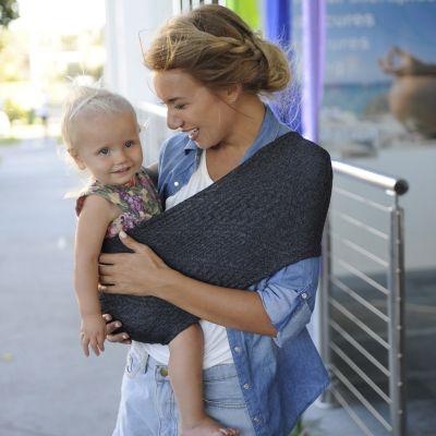 Porte bébé Easy Sling Wacotto gris chiné (taille M)  par Lucky