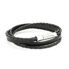 Bracelet double tour Le Mix noir (acier)