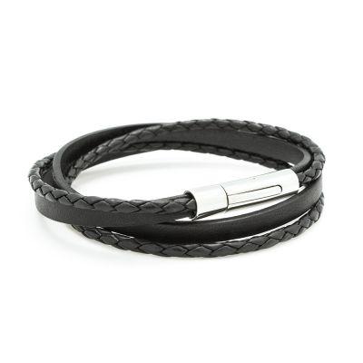 Bracelet double tour Le Mix noir (acier)  par Petits trésors