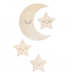 Mobile décoratif en bois lune