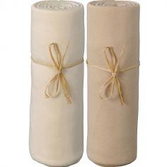 Lot de 2 draps housses en coton bio écru et cappucino (70 x 140 cm)