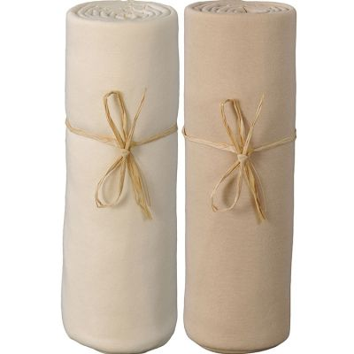 Lot de 2 draps housses en coton bio écru et cappucino (70 x 140 cm)  par P'tit Basile