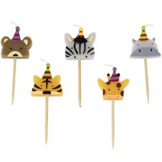 Lot de 5 bougies d'anniversaire animaux Jungle Fever