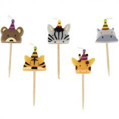 Lot de 5 bougies d'anniversaire animaux Jungle Fever