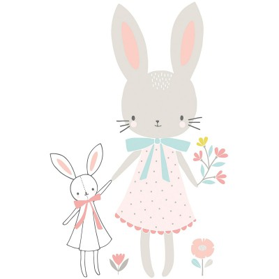 Sticker demoiselle lapin Sweet Bunnies by Flora Waycott  par Lilipinso