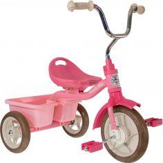 Tricycle Transporter avec panier arrière rose