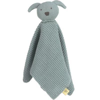 Doudou plat tricoté en coton bio Little Chums chien  par Lässig