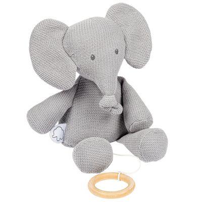 Peluche musicale en tricot Tembo l'éléphant (23 cm)  par Nattou