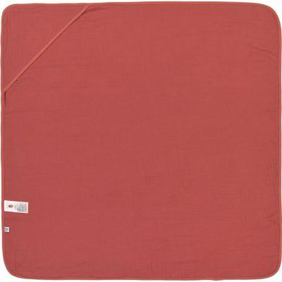 Cape de bain en mousseline de coton bois de rose (90 x 90 cm)  par Lässig
