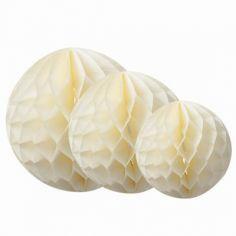 Boules en papier alvéolé ivoire (3 pièces)