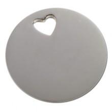 Bracelet empreinte pastille trou coeur sur cordon (or blanc 750°)   par Les Empreintes