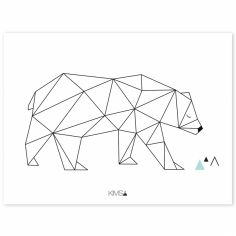Affiche ours Origami play by Claudia Soria (30 x 40 cm)