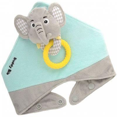 Ensemble de dentition avec bavoir, jouet et anneau Elie l'éléphant  par Malarkey Kids