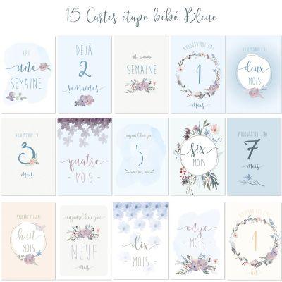 Cartes étapes de bébé Ma première année bleu (15 cartes)