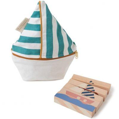 Puzzle baguettes en bois Transports (5 pièces)  par Nobodinoz