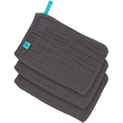 Lot de 3 gants de toilette en mousseline gris anthracite  par Lässig