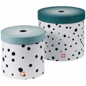 Lot de 2 boîtes de rangement rondes Happy Dots pois bleu - Done by Deer