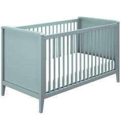 Lit bébé évolutif avec barrières de protection bleu aqua Lora (70 x 140 cm)