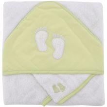 Cape de bain brodée et gant pieds vert anis  par Domiva