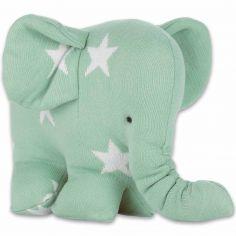 Peluche Eléphantou Star vert menthe et blanc (30 cm)