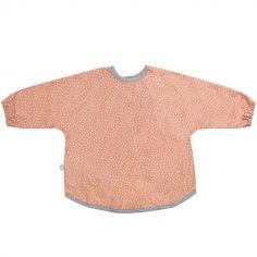 Bavoir à manches longues rose à pois en coton bio enduit (1-3 ans)
